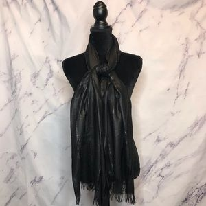 Accessories - Black Silver Metallic Fringe Scarf